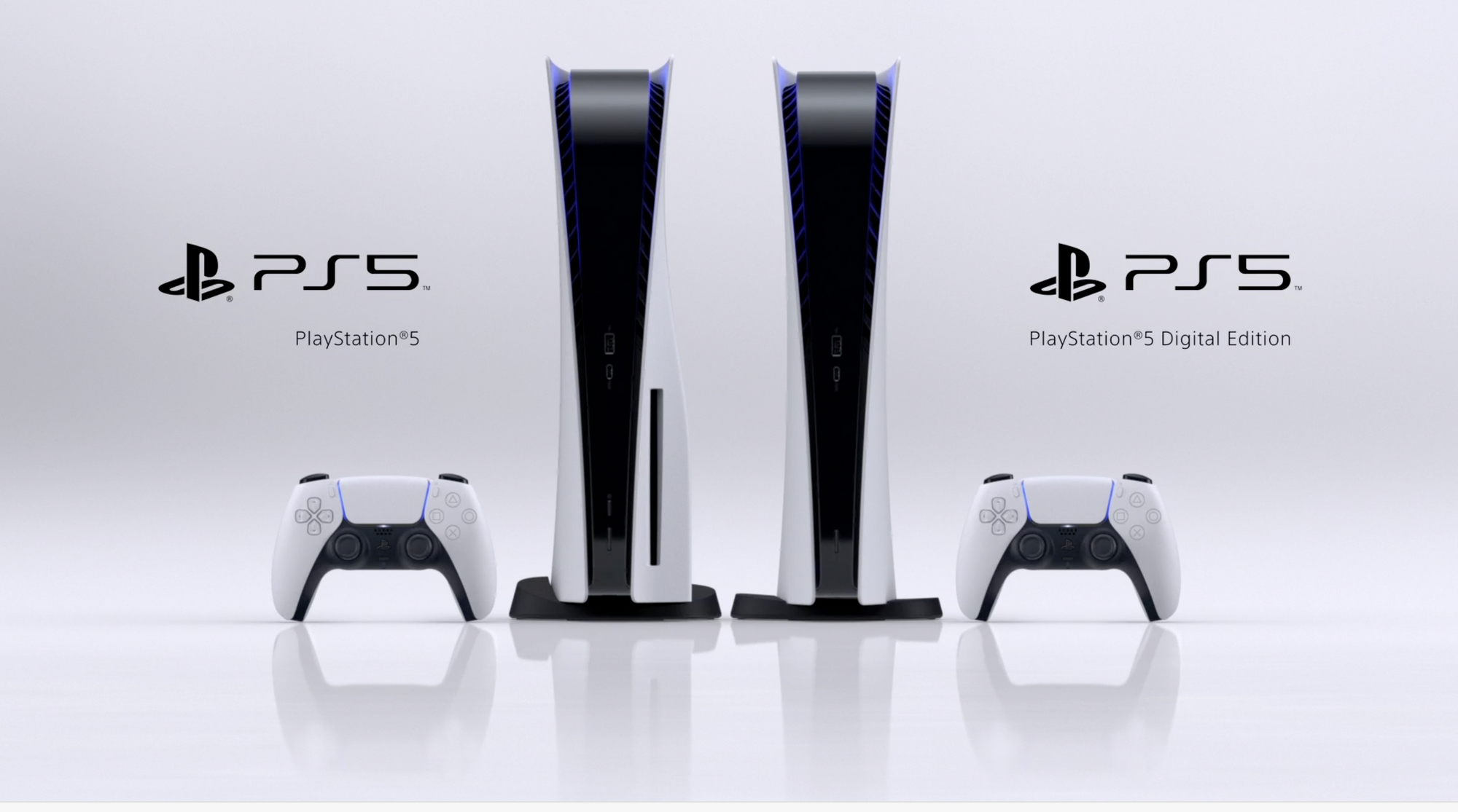 Two PlayStation 5 consoles, one with a disc reader, both with a DualSense next to them.