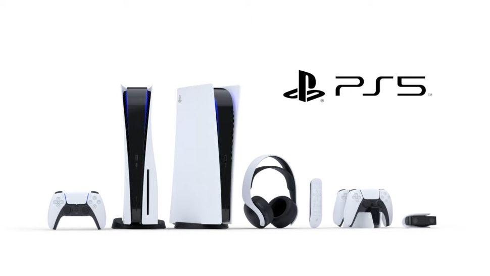 A DualSense controller, a PlayStation 5, a PlayStation 5 Digital edition, a Pulse 3D Headset, a Media Remote, a DualSense charging station and a HD camera.